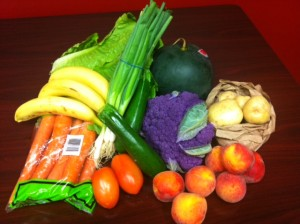 Fruits and vegetables in small organic good food box ($24)