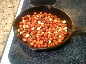 roasting hazelnuts