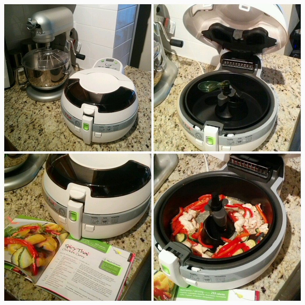 The Actifry comes with a cookbook listing healthy recipes that only use 1 spoonful of oil (about 1 Tablespoon).
