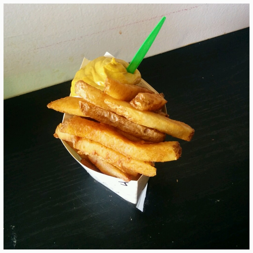 Belgium style frites with joppie dipping sauce.