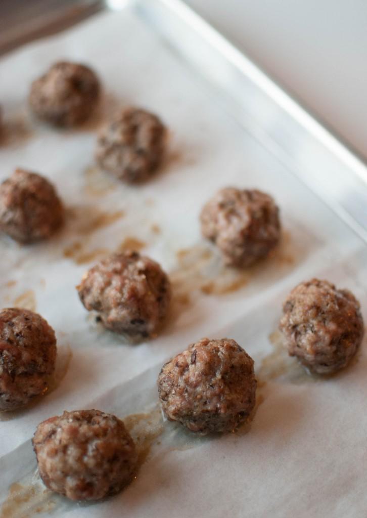 cooked pork meatballs
