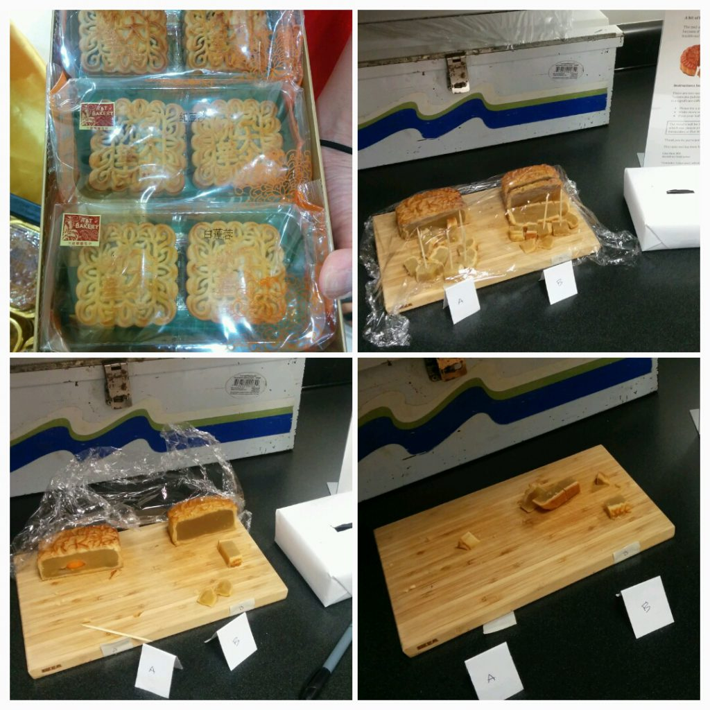 Mooncakes - at various stages during the taste test